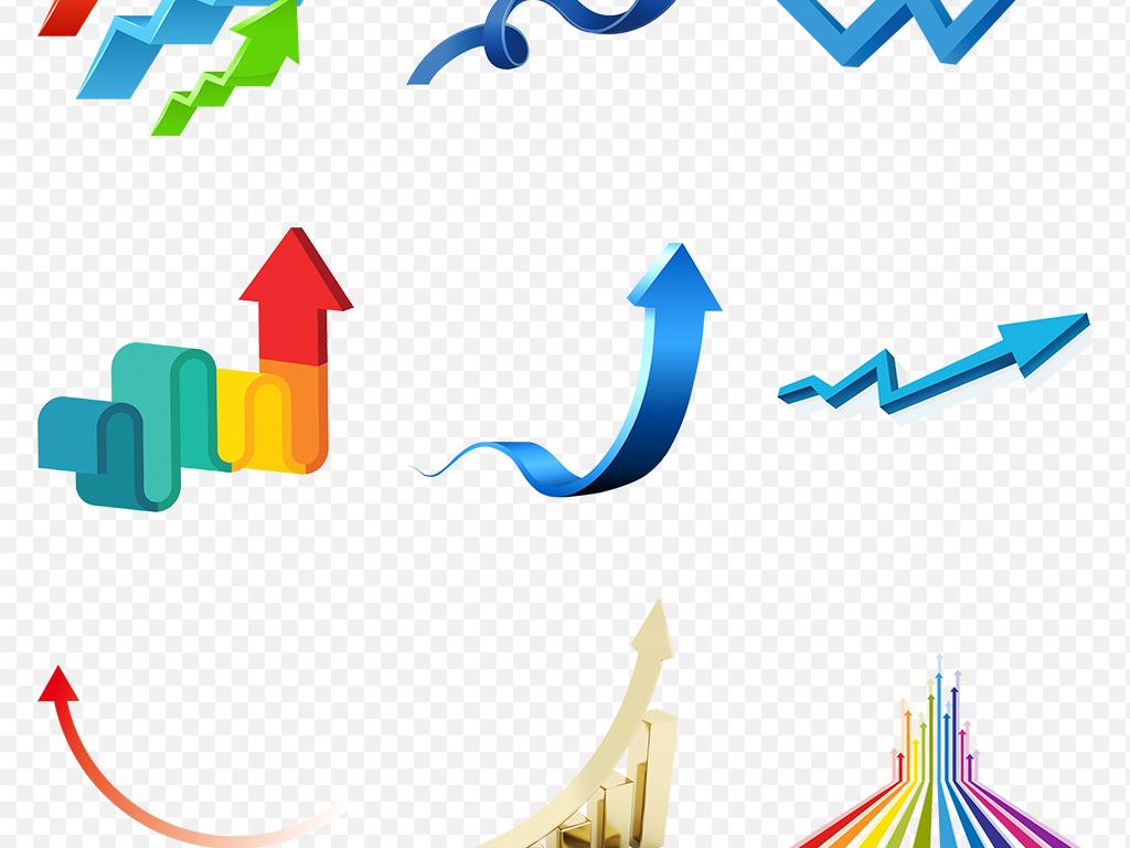 下降走势3d卡通手绘科技科技背景箭头蓝色素材立体上升箭头科技素材