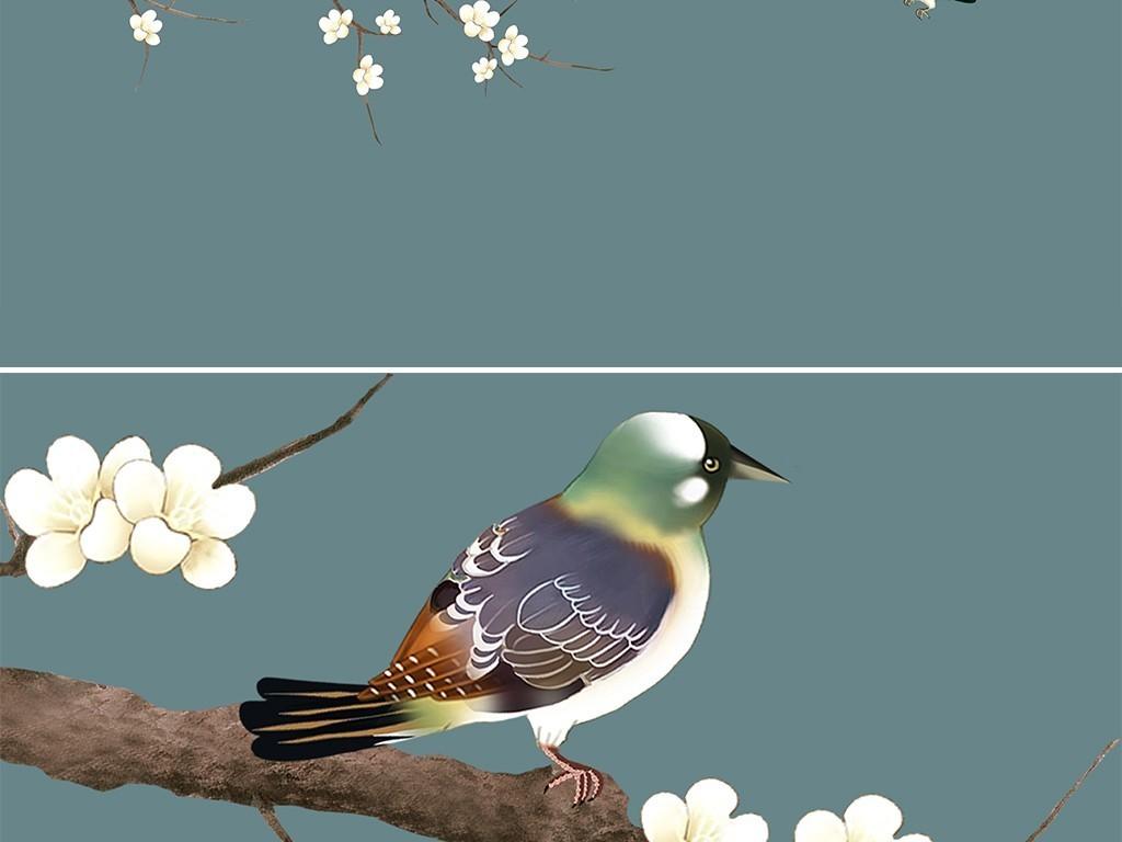 新中式手绘梅花花鸟装饰画月亮意境背景墙