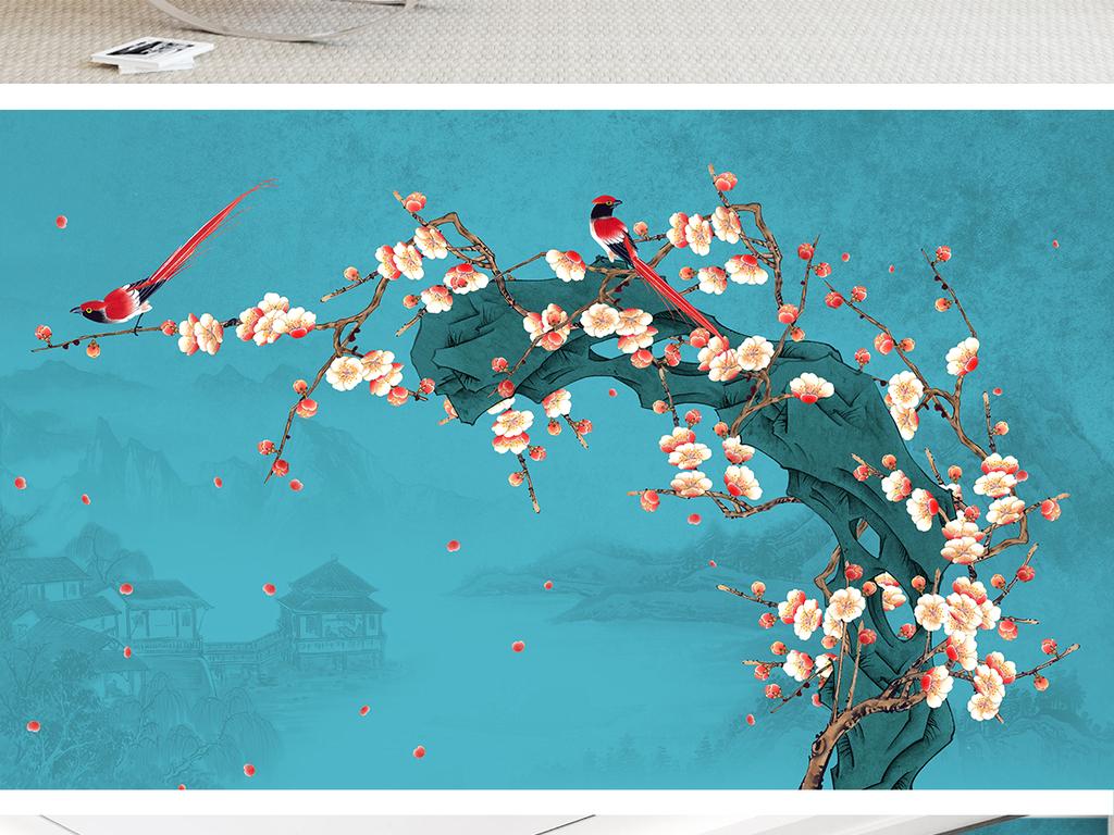 新中式手绘梅花工笔花鸟山水背景墙装饰画