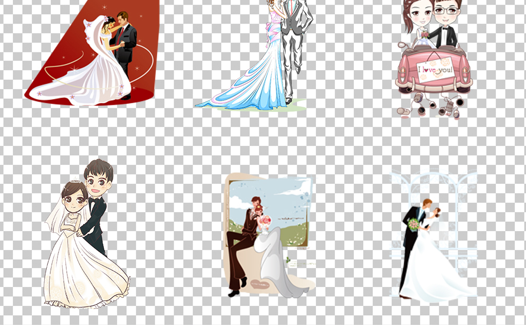 0909唯美可爱新郎新娘创意手绘卡通新郎新娘素材免抠