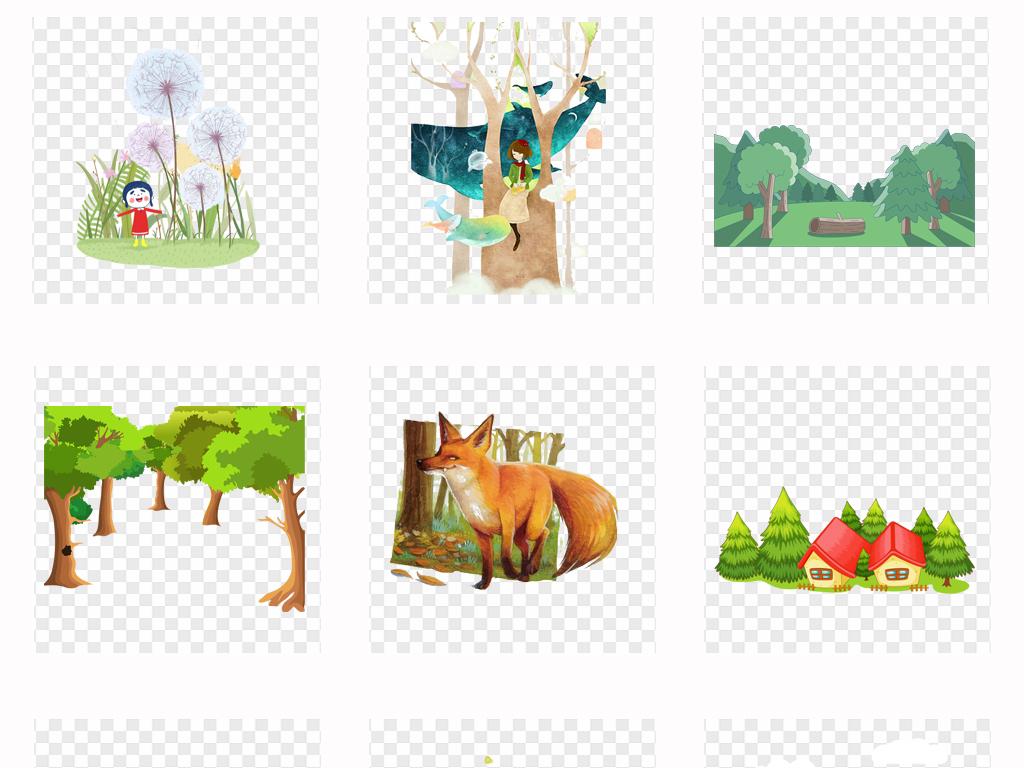 植物动物卡通手绘森林水彩卡通卡通动物卡通背景水彩卡通森林素材森林