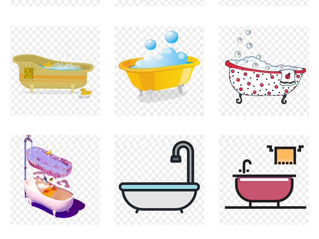卡通手绘可爱浴缸洗澡沐浴人物海报漫画插画免扣素材