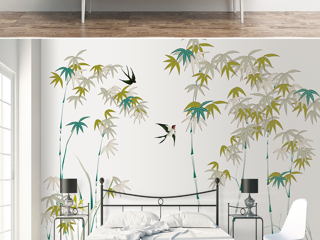 手绘中式抽象富贵竹沙发电视背景墙