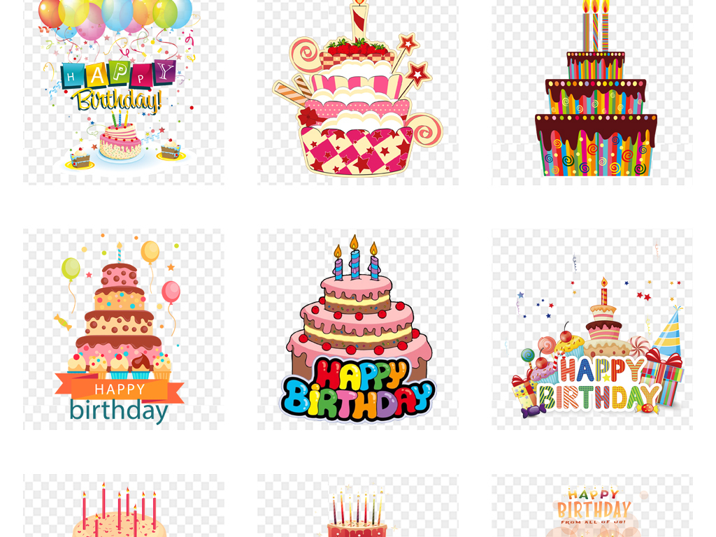 生日快乐贺卡卡通蛋糕店海报背景png素材