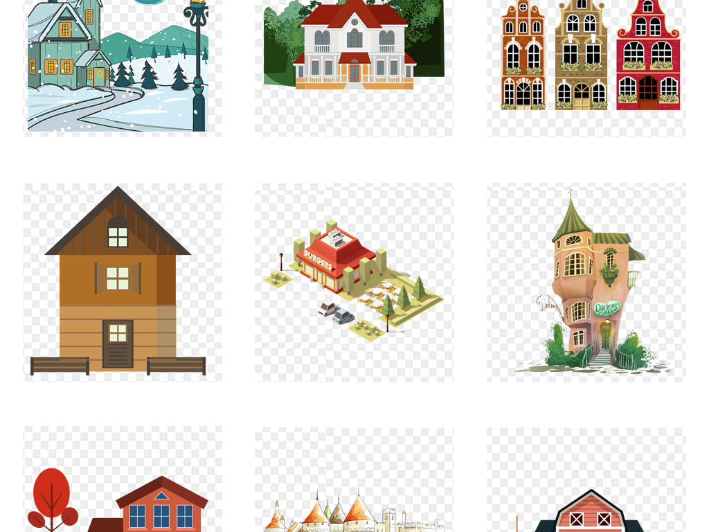 手绘房子别墅房产房屋png背景免扣素材