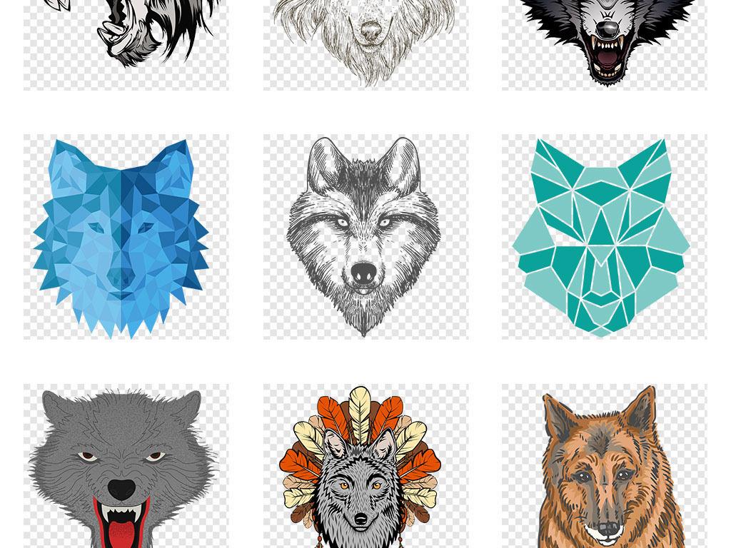卡通手绘狼头狼图案狼图腾png免抠素材图片_模板下载