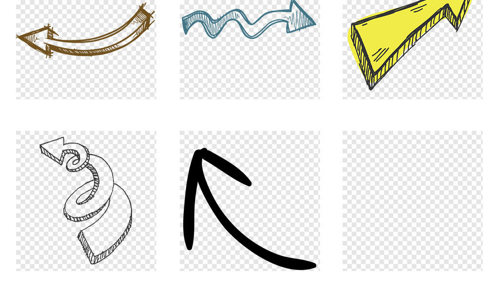 矢量卡通手绘箭头png透明背景免扣素材