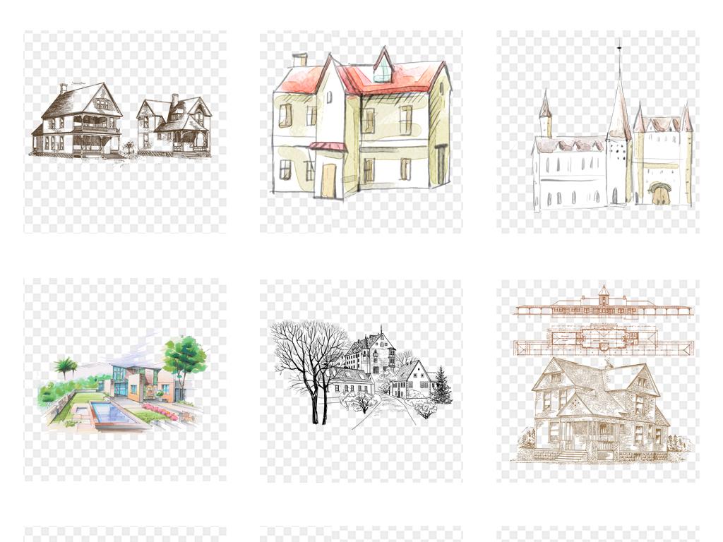 原创手绘水彩房子别墅海报背景png免扣素材