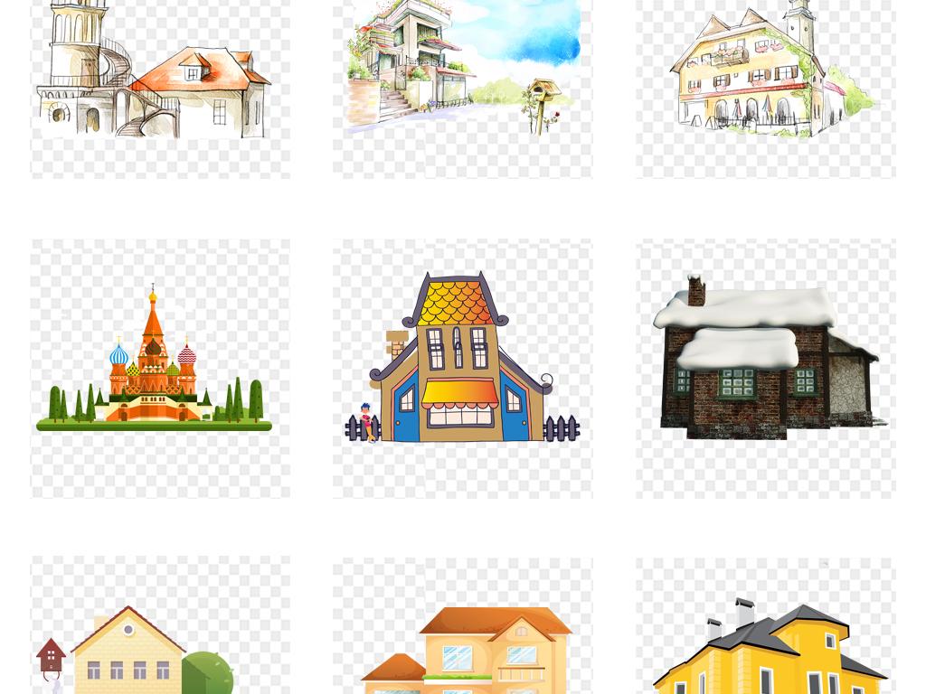 免抠元素 生活工作 城市建筑 > 手绘水彩房子别墅海报背景png免扣素材