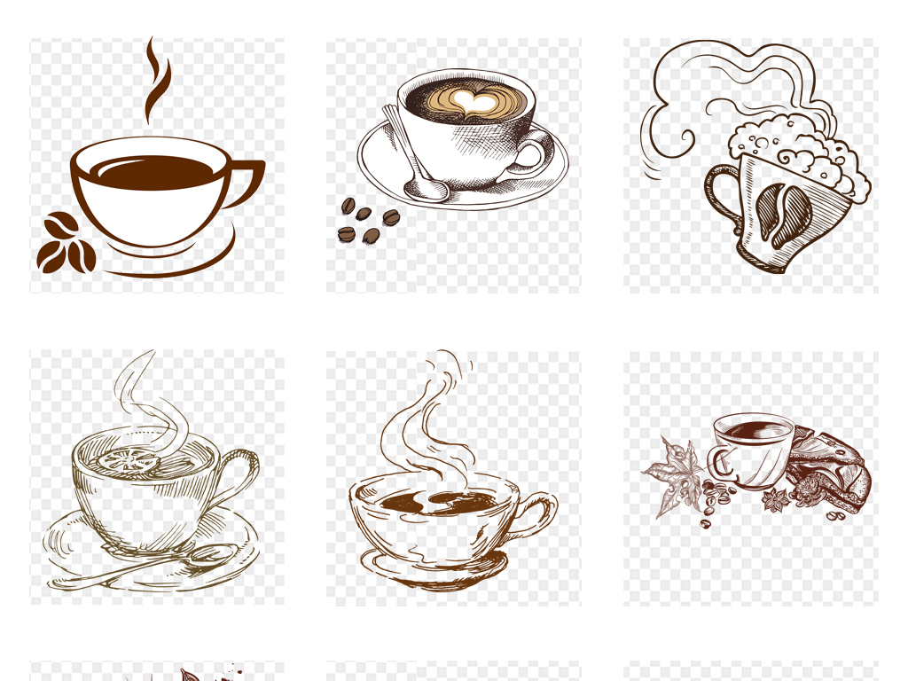 免抠元素 生活工作 食物饮品  > 手绘水彩咖啡线条线稿咖啡海报详情