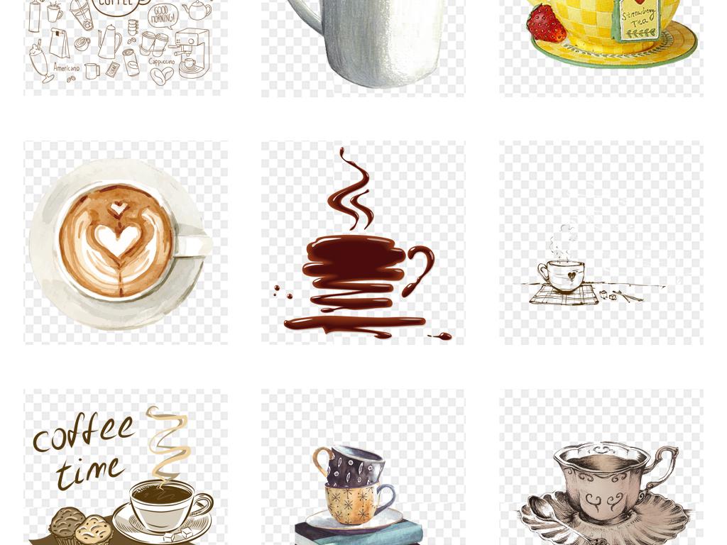 手绘水彩咖啡线条线稿咖啡海报详情页png素材