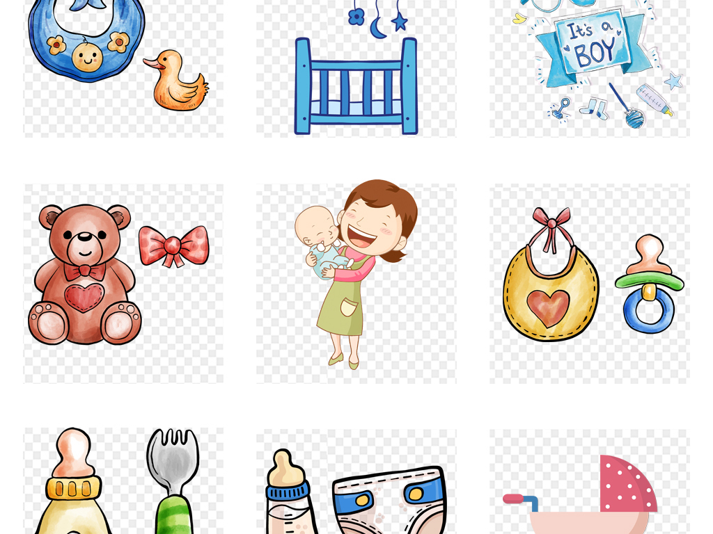 手绘水彩母婴店宝宝奶瓶奶嘴婴儿车母婴用品素材