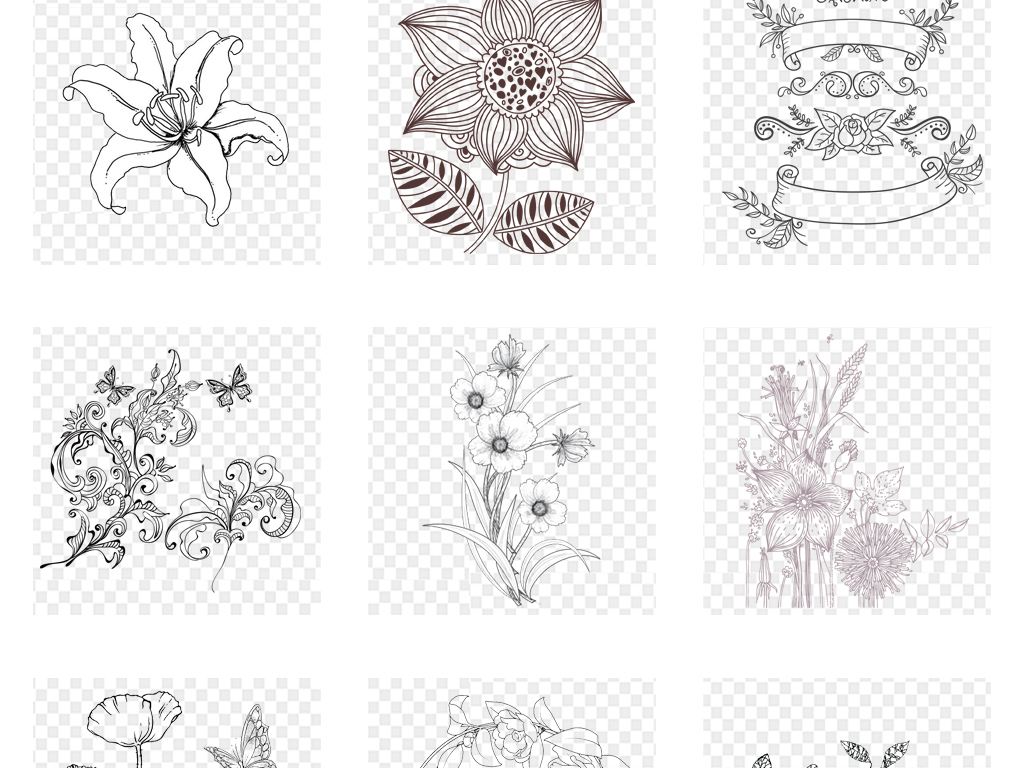 黑白手绘花卉线条花朵手绘花卉素材手绘花朵线条背景手绘背景花卉背