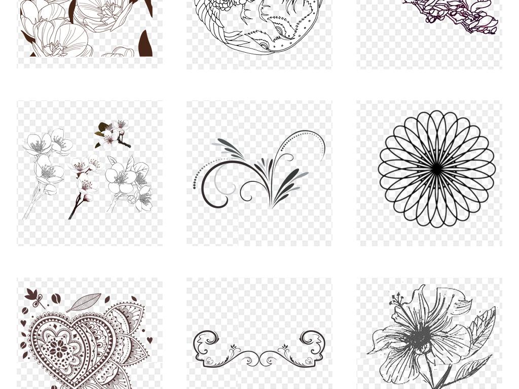 水果线稿黑白手绘花卉线条花朵手绘花卉素材手绘花朵线条背景手绘背景