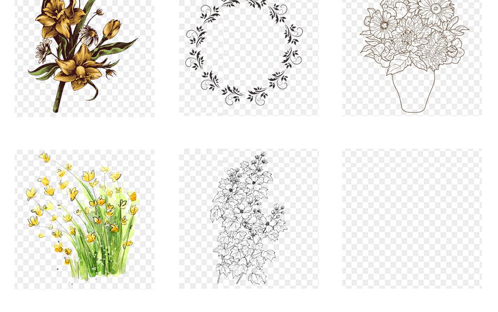 黑白手绘花卉线条花朵手绘花卉素材手绘花朵线条背景手绘背景花卉背景