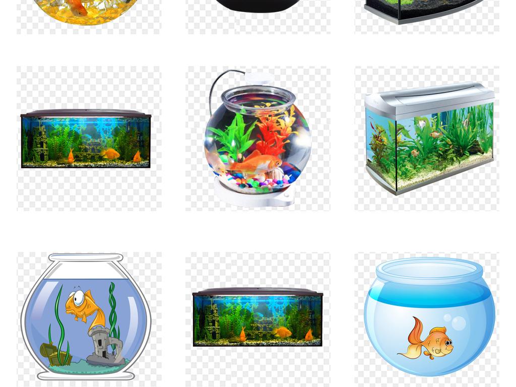 手绘素材金鱼鱼缸背景鱼缸png背景水族馆透明背景促销背景金鱼素材