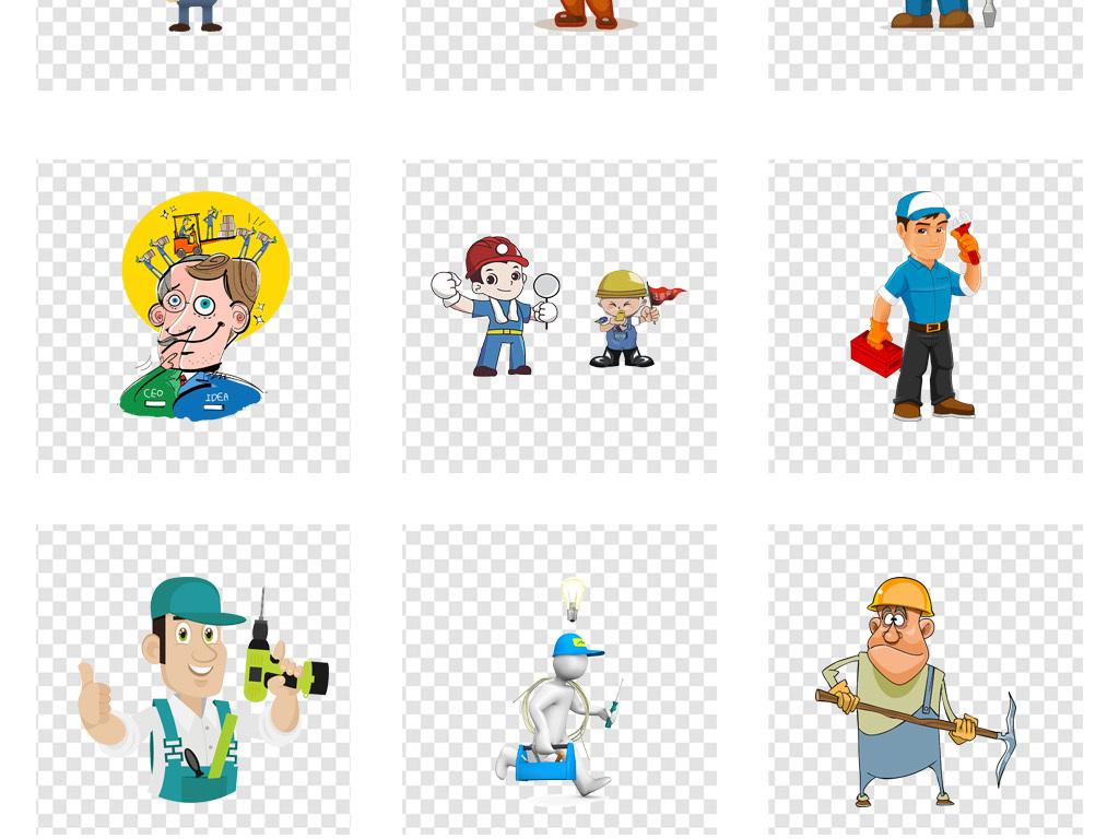 卡通手绘装修工人建筑工人png免扣素材