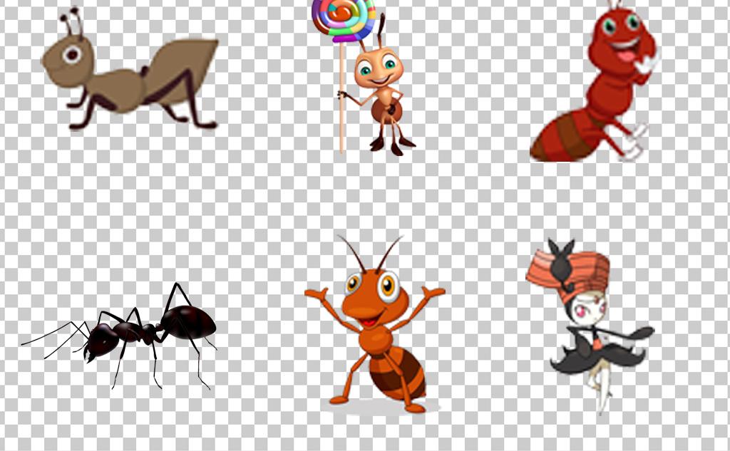 0934卡通手绘动物蚂蚁可爱拟人蚂蚁免抠素材