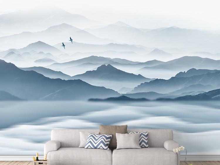 新中式水墨山水抽象蓝色飞鸟客厅电视背景墙