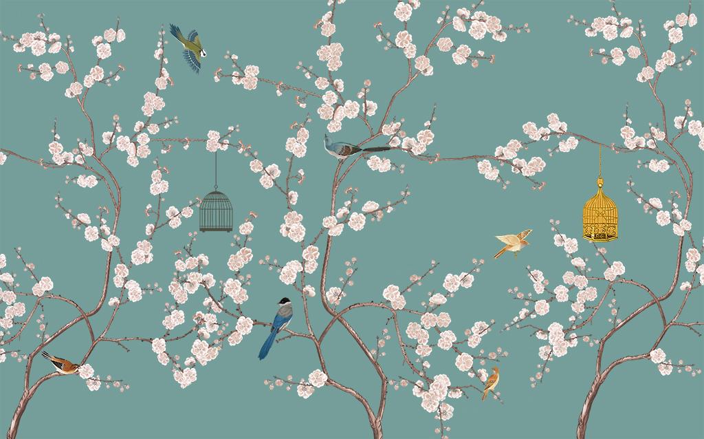 背景墙 电视背景墙 中式电视背景墙 > 新中式手绘鸟笼花鸟  版权图片