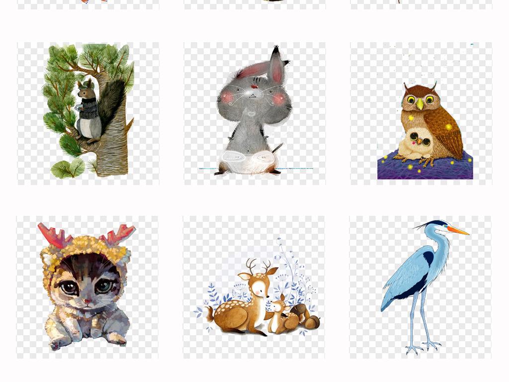 可爱卡通手绘水彩画动物森系水彩动物背景png素材