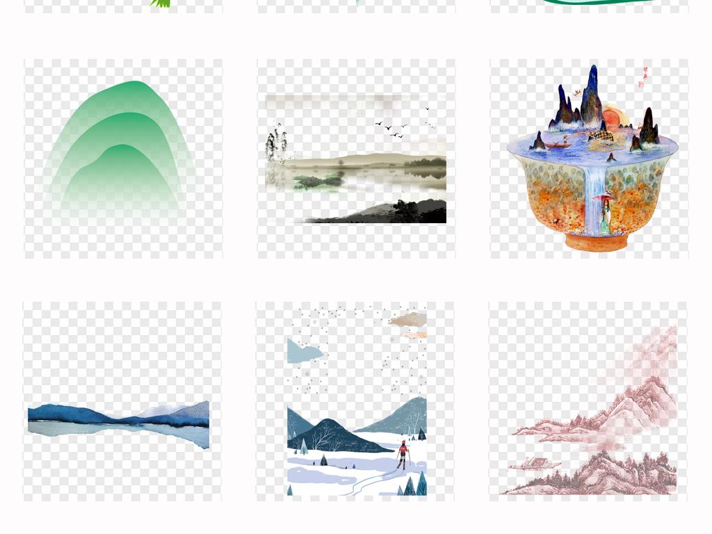 卡通水彩森林手绘水彩山峰山川插画背景png素材
