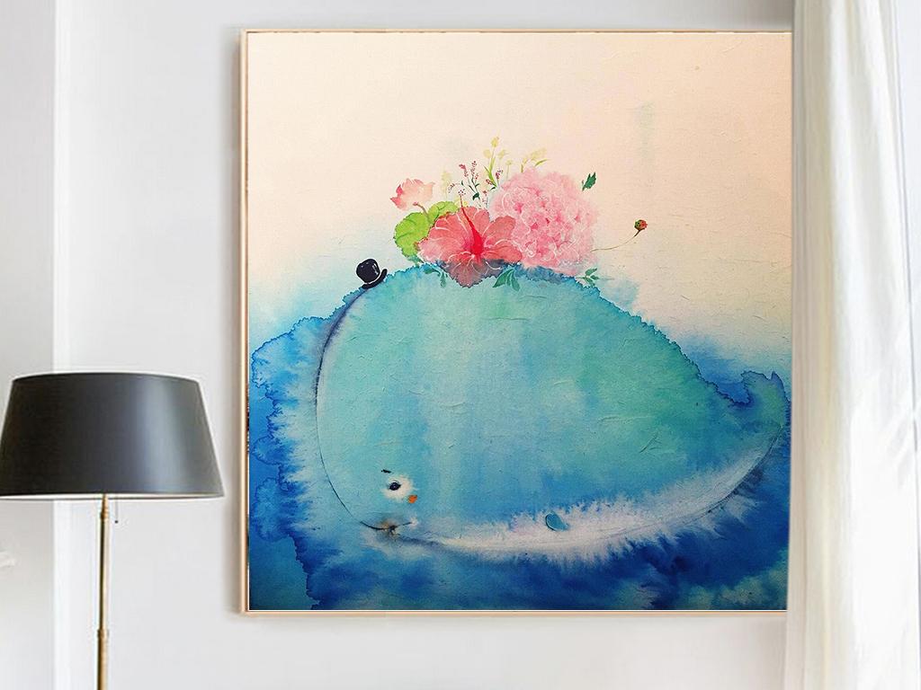 中国风现代油画水彩写实意境唯美和风茶花幻像装饰画挂画图片