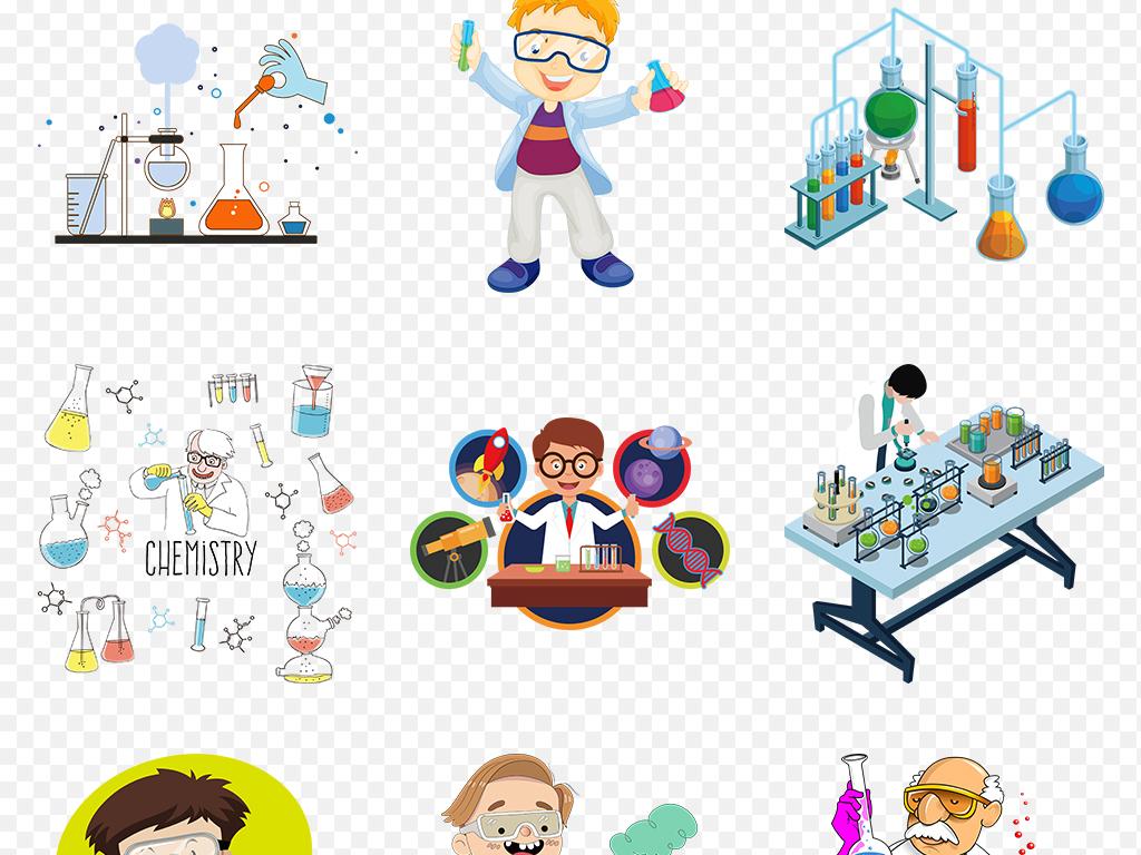 卡通科学家做实验化学实验室海报素材背景png图片
