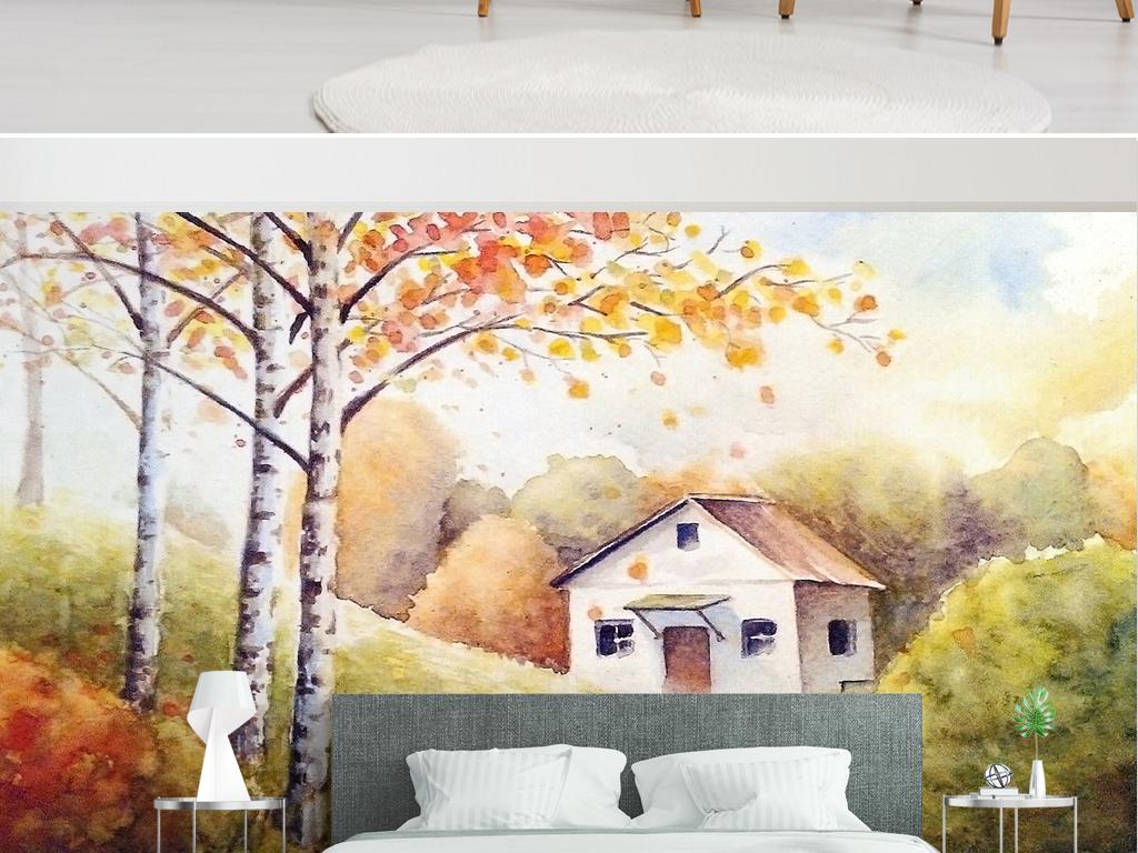 水彩手绘油画森林背景墙欧式
