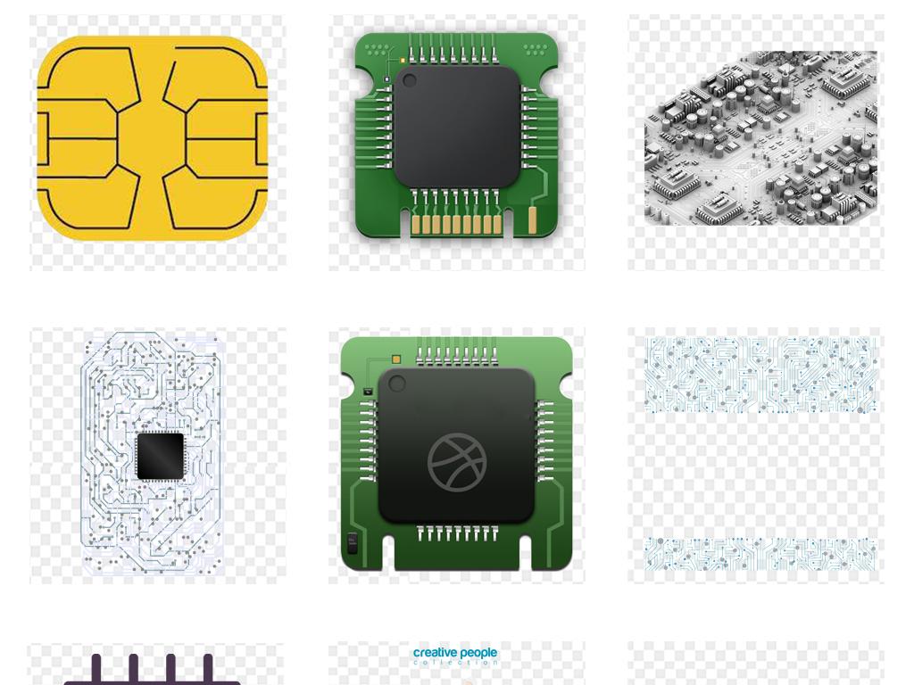 免抠元素 科技素材 其他 > 科技电路线路图电脑芯片png免扣素材  素材