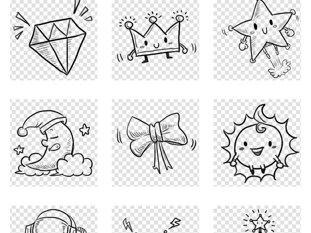 卡通手绘学习用品月亮星星涂鸦简笔画png免扣素材