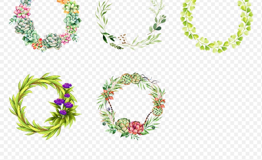 绿色春天手绘小清新圆形花环边框海报素材背景png