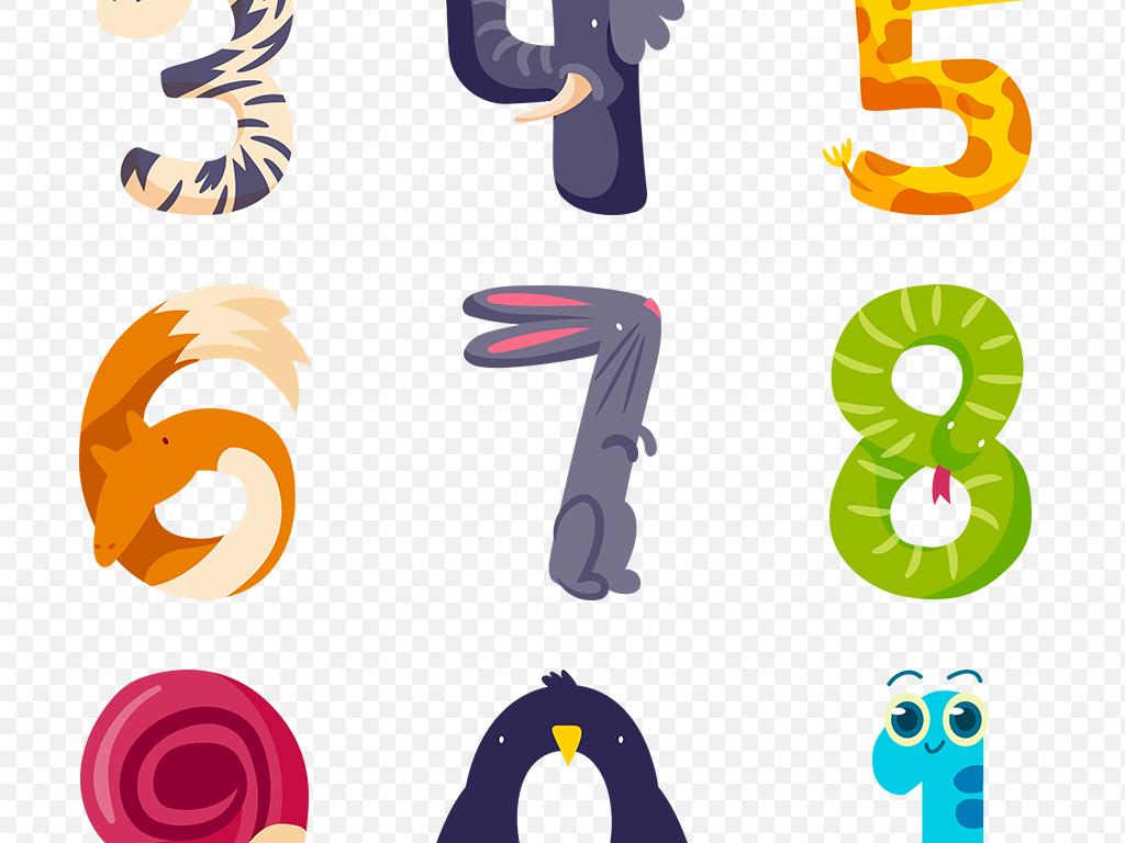 创意可爱卡通动物数字海报素材背景png