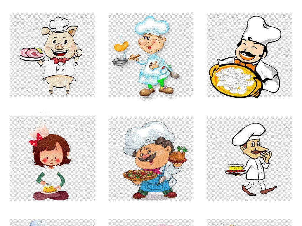 手绘卡通厨师美食餐饮日式料理师傅免扣素材