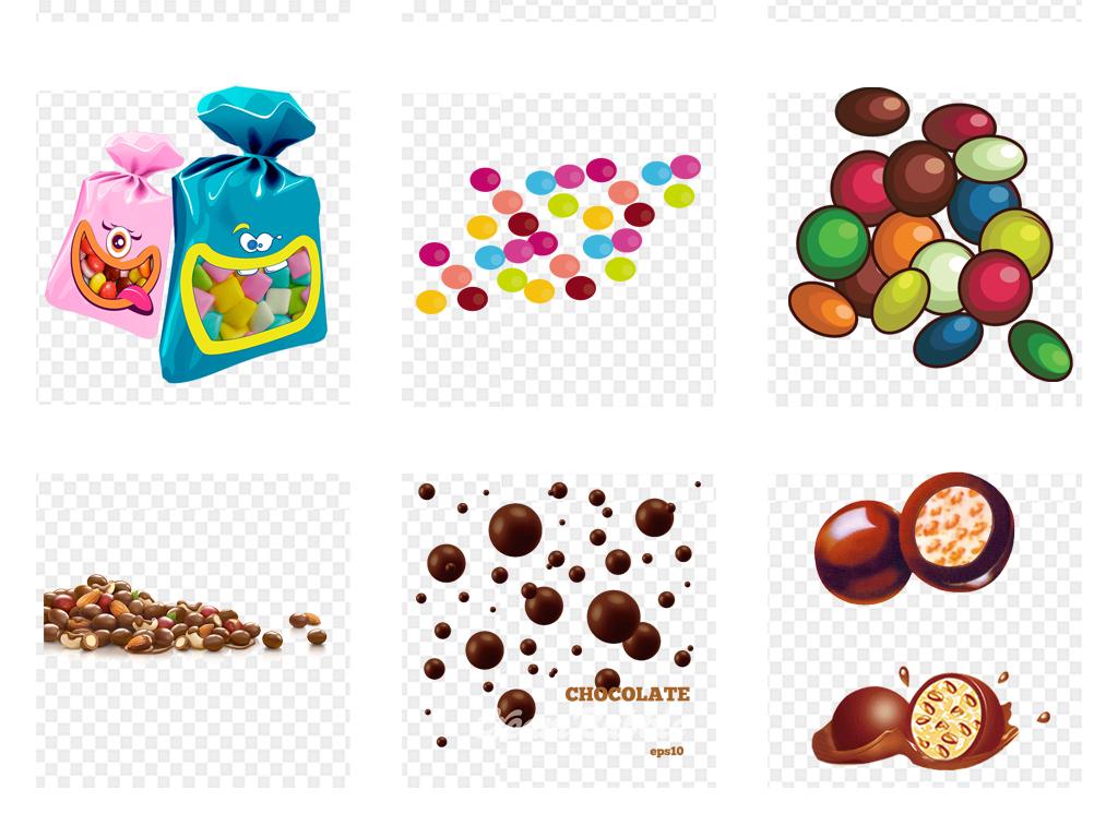 卡通巧克力豆彩色糖果png免扣素材