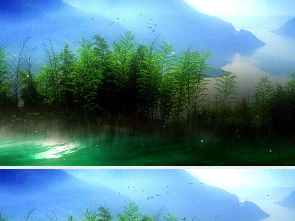 唯美竹林意境山水风景画led动态背景视频图片