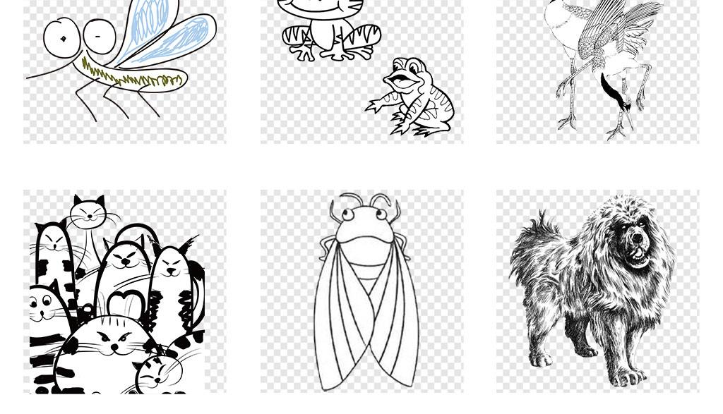 卡通手绘动物涂鸦线条简笔画png免抠素材