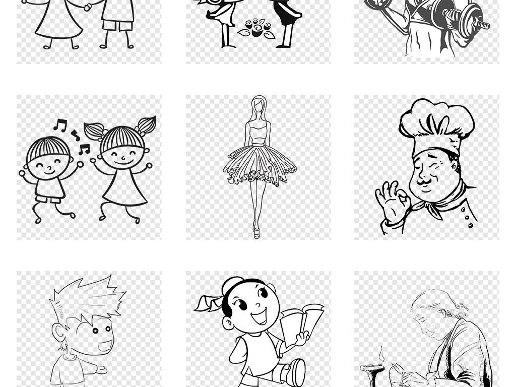 手绘涂鸦小女孩素描简笔画手绘儿童卡通