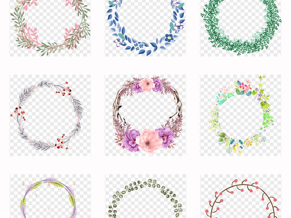 50款手绘小清新圆形方形花环边框海报背景png素材