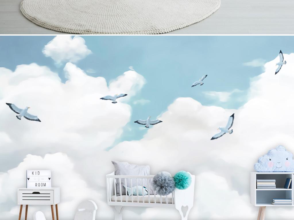 小清新现代简约手绘卡通婴儿房卧室背景墙