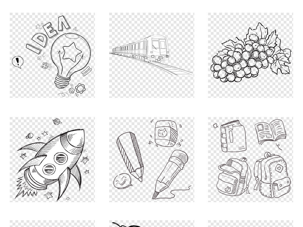 卡通简约简笔画黑白插画手绘葡萄线稿小蘑菇柳树灯泡线条简笔画素材