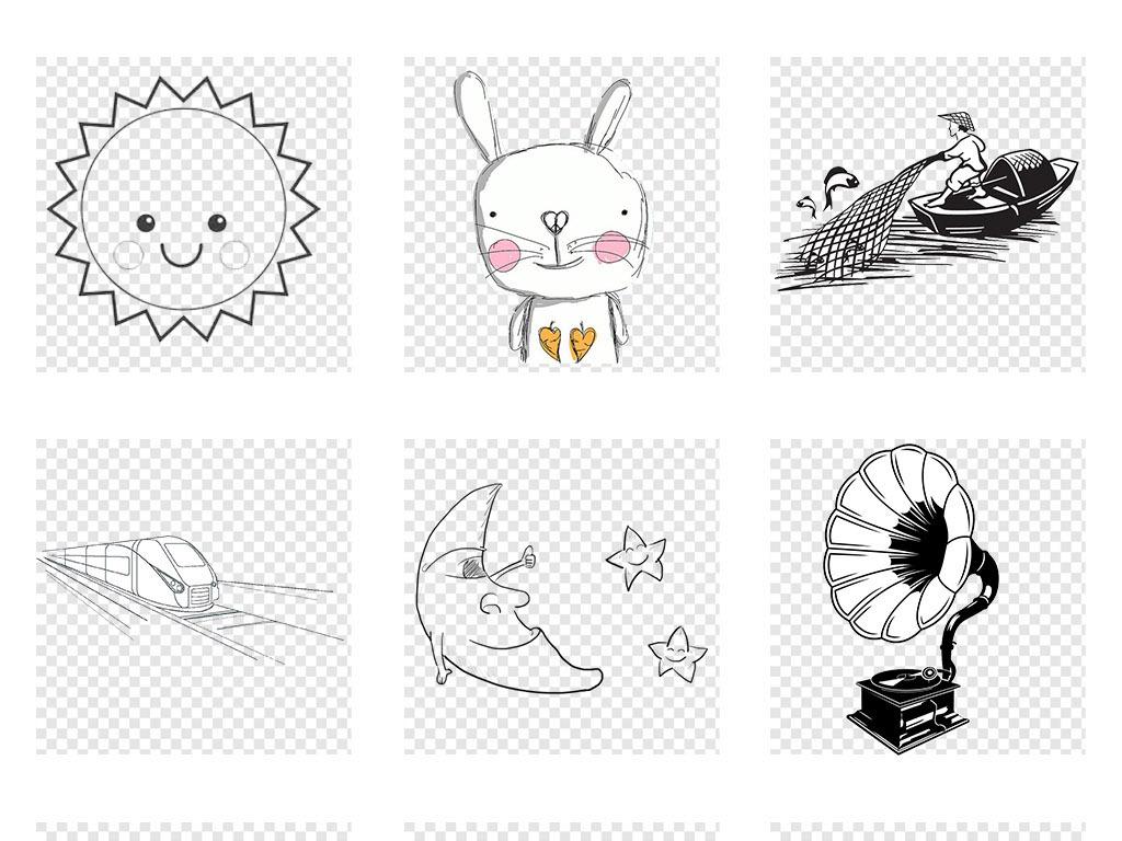 鸽子卡通简约简笔画黑白插画手绘葡萄线稿小蘑菇柳树