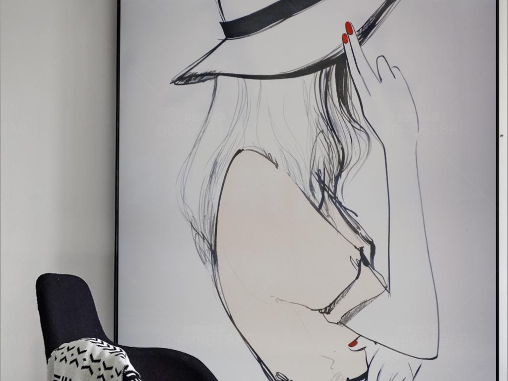 纯手绘都市现代女孩艺术油画玄关