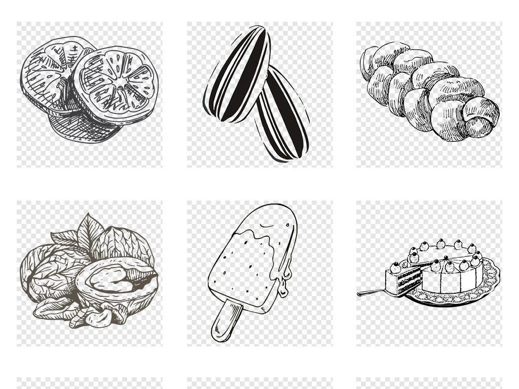 卡通手绘涂鸦线条美食食物简笔画png素材