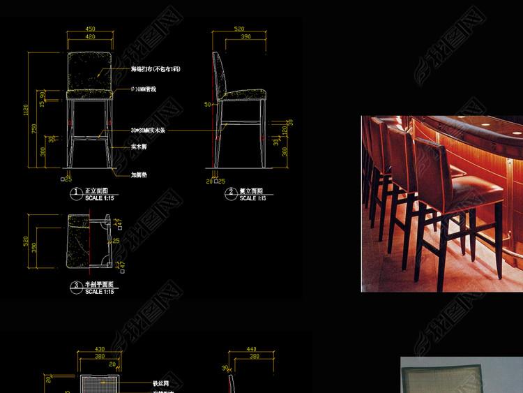 吧椅CAD图库新中式家具CAD图库