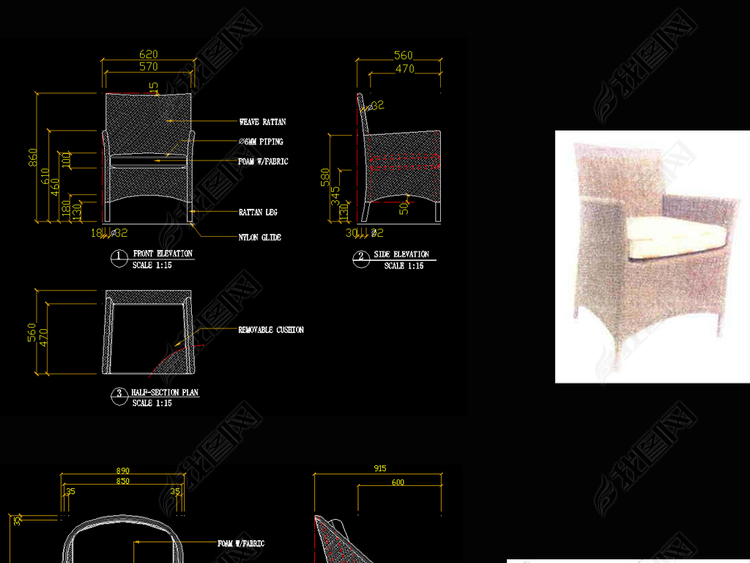 藤椅CAD图库椅子CAD现代家具