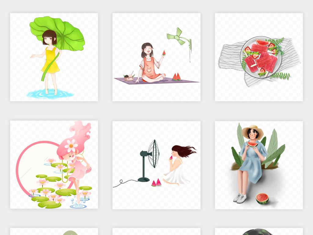 水彩手绘美女时装设计人物手绘时装手绘背影插画女孩人物夏日夏天游泳