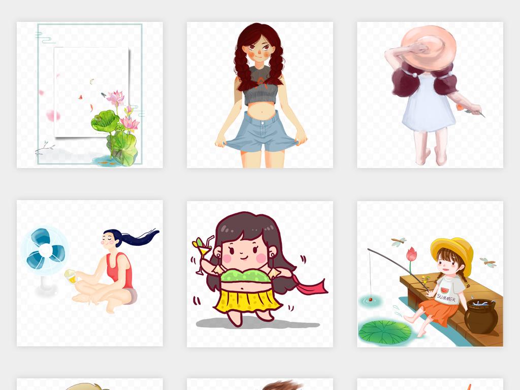 唯美卡通手绘夏日夏天夏至菠萝西瓜夏季游泳插画png免