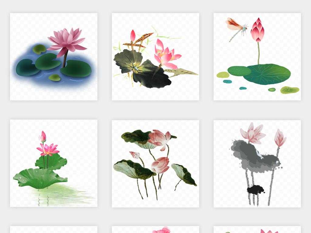 卡通手绘水墨复古山水夏季夏日荷花荷叶植物png免扣素材