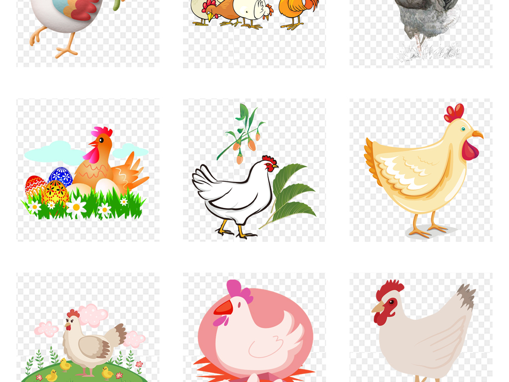 手绘水彩卡通鸡年鸡海报背景png素材